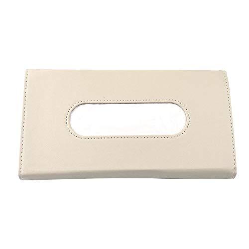 XQK Car Sun Visor Tissue Box, Aufbewahrungsbehälter für Ledergewebe, schwarz-beige Auto Visier Tissue Holder mit Rückenclip für Autozubehör (Beige)