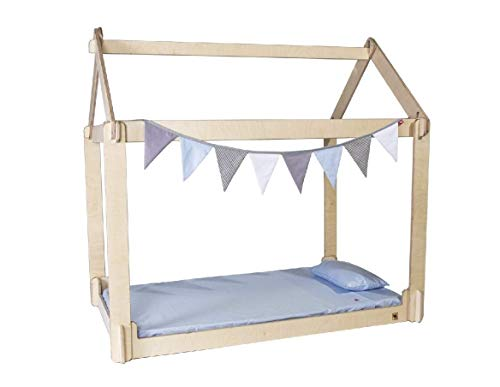THE LITTLE JAC WOOD Cama Infantil casita Sova Montessori%100 desarmable de Madera Rusa (Azul, Individual 190x100)