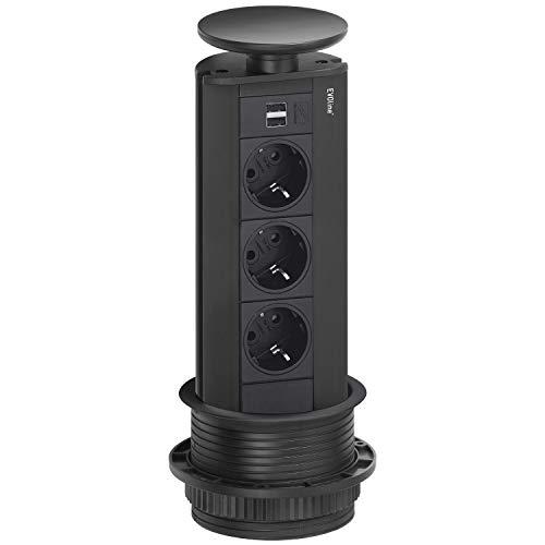 EVOline 159310412800 schwarz Steckdosenleiste Port 3X Schukosteckdosen 2X USB-Charger, Wippdeckel