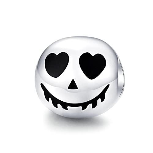 LISHOU DIY S925 Plata De Ley Halloween Cara De Miedo Ghost Rock Skull Charms Beads Fit Original Pandora Pulsera con Cuentas Collar DIY Mujer Fabricación De Joyas