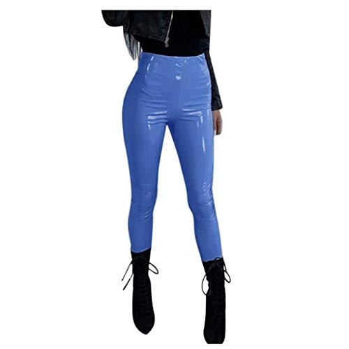 SuperSU Damen Lederleggings Stretch Skinny High Waist Hose Lackleder Glänzend Lederhose Leggins Hose Skinny Stretch Tights Röhrenhosen Treggings Jeggings, 8 Farben 8 Größen