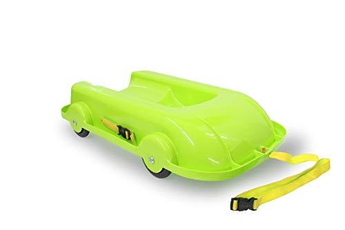 Jamara 460504 Bob 2in1 Sommer/Winter grün-2 in 1 Design mit kugelgelagerten Rädern ermöglicht Fahrspaß im Winter & Sommer, wendbare & Bequeme Sitzschale, aus robustem Kunststoff, Kipschutz