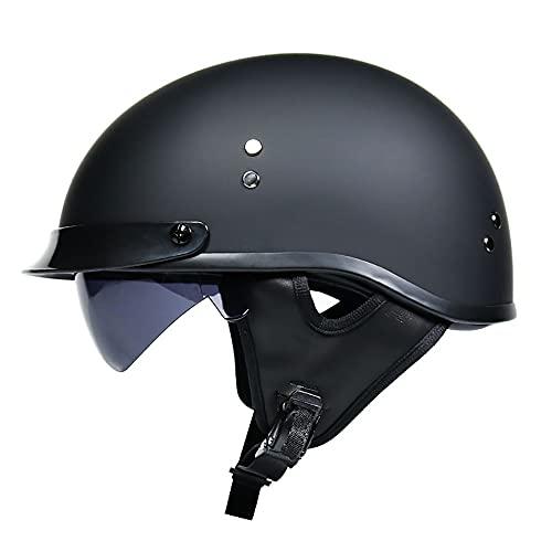 Motorrad-Helm Halbhelme Brain-Cap Halbschale Jet-Helm Roller-Helm Scooter-Helm Retro Half Helm mit Built-in Visier für Cruiser Chopper Biker Moped DOT/ECE-Zulassung