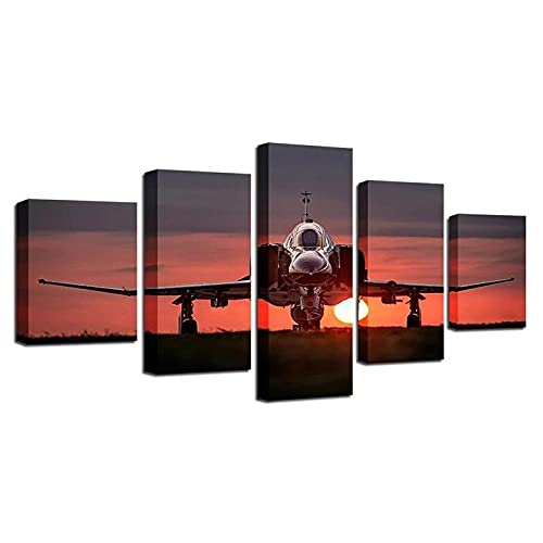 VYQDTNR - 5 Panel Large Canvas Wall Art The Airplane Take Off Picture Poster Framed Artwork Wall Decor Modern Living Room Bedroom Kitchen Office Home Decorations Ready to Hang