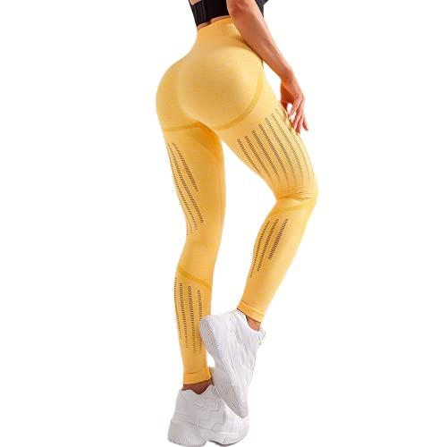 QTJY Leggings de Celulitis elásticos sin Costuras Pantalones de Yoga de Fitness para Mujeres Push-ups Pantalones de chándal de Levantamiento de Cadera de Cintura Alta F M