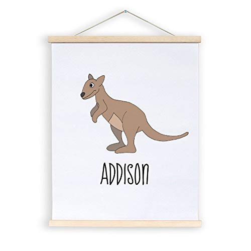 Elvoes Magnetic Posters Hangers Artwork 20x24 20x28 20x30 Australia Cute Kangaroo Doodle and Name Wood Frames Picture Wall Art Decorative for Home Office