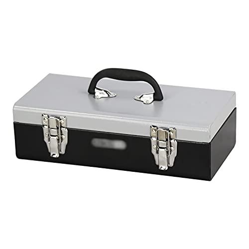 Cassetta porta attrezzi Cassa degli attrezzi in metallo Cassa di stoccaggio per impieghi gravosi con manico in plastica resistente grande capacità per strumenti hardware domestici riparazione auto pet