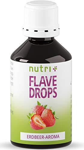 Flavor Drops Erdbeere 50ml - Aromatropfen ohne Kalorien - Geschmacks Tropfen zum Süßen und als Backaroma - Erdbeeraroma Vegan - Strawberry Flavour - MHD 10/2020