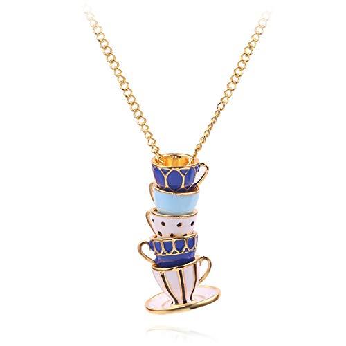 VAWAA Neue Zarte Emaille Porzellan Kaffee Tee Tasse Form Anhänger Halskette Alte Die Seidenstraße China Kette Geschenk Kleidung Zubehör