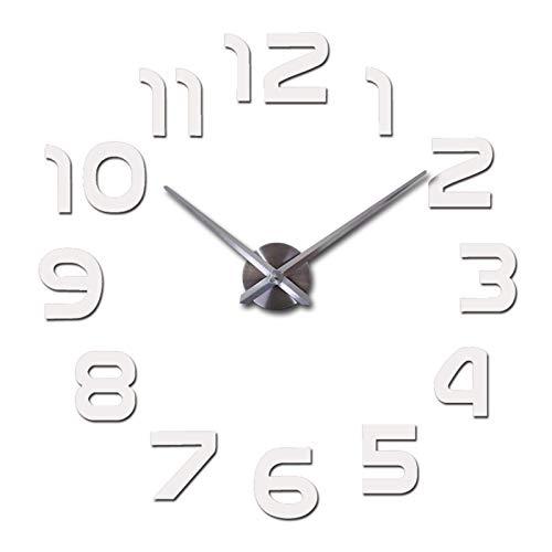 XJZKA Reloj de Cuarzo Limitado Duradero Pegatina de Espejo Grande Reloj de Pared de Metal Relojes de Arte Moderno decoración del hogar Decoración del hogar (Color: Blanco, tamaño de Hoja