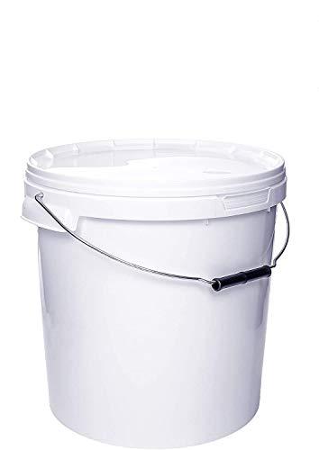 Eimer mit Deckel | Weiß 20L | Kunststoffeimer Deckel mit Metall Henkel Lebensmittelecht (1x 20 Liter)