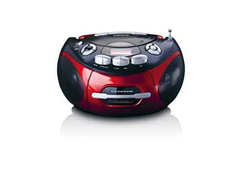 Lenco SCD-430 Radio CD-Player mit Kassettendeck - CD Player mit MP3-Funktion - Auto-Stopp - Programmierbarer Titelspeicher - Repeat Funktion - Extra Bass - 3,5mm AUX-In SCD-430RD rot