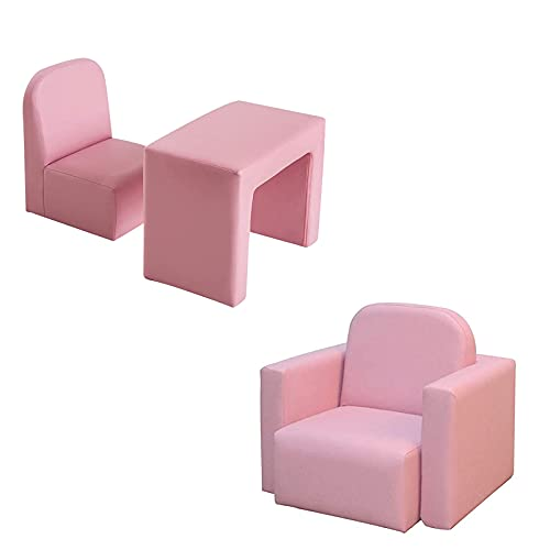 Bespivet Kids Mini Sofa Armchair Seat,Multifunctional 2 in 1 Table Chair Set, Fuly Assembled Kids Table and Chair Set, Studying Table Set for Girls Boys Gaming Studying Room(Pink)