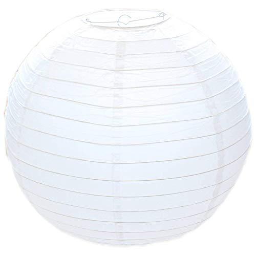 Runde Papierlaterne im Bambusstil, gerippt, 30 cm, weiß