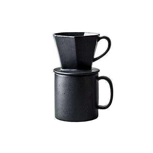 LHTCZZB À deux mains Cafetière Facile à nettoyer Ultra-fine Maker Outlet thé Matériel céramique mat givré glacé filtre approprié for Bureau Coffee Pot (Noir)