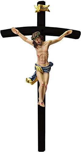 Kaltner Präsente Geschenkidee - 50 cm Wandkreuz Kruzifix schwarz mit Jesus Christus Figur auf Kreuz aus Holz von Hand bemalt