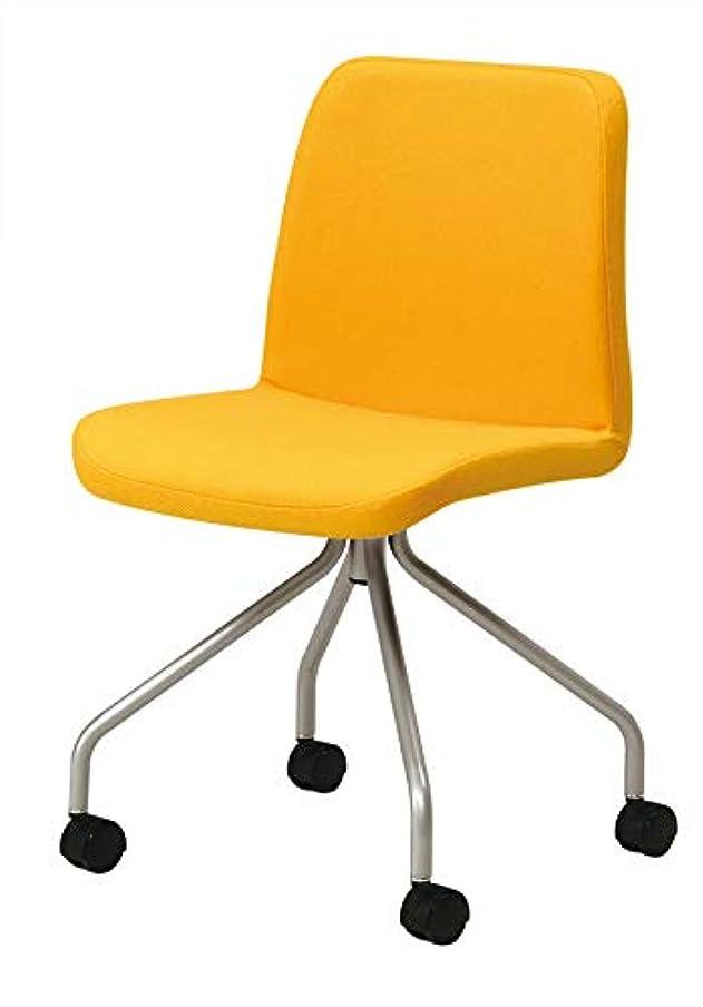 エゴイズム中で上昇ミトノ 日本製 デスクチェア 椅子 MC-182E-SV スチール脚 エラストマーキャスター仕様 MT-2296(イエロー)