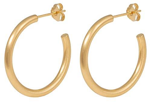 Pernille Corydon Damen Creolen Gamma Hoops - 3 cm - Matte Oberfläche - 925 Silber Vergoldet - E194g