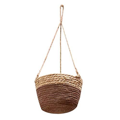 hfior Macetero colgante de paja tejida, macetero colgante para balcón, jardín, decoración.