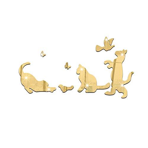 DIY, Etiqueta de La Pared Engomada - Vinilo decorativo espejo gatito jugando-dorado