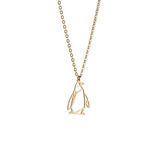 La Menagerie Pinguin Gold, Origami-Schmuck & vergoldete geometrische Kette - 18-karätig Goldkette & Pinguin-Halsketten für Frauen - Pinguin-Halskette für Mädchen & Origami-Halskette