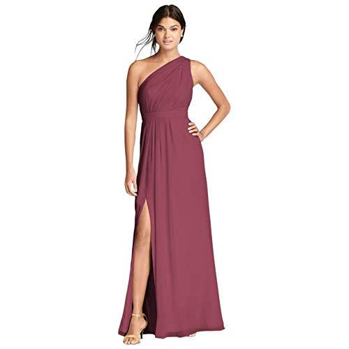 David's Bridal Long One-Shoulder Crinkle Chiffon Bridesmaid Dress Style F18055, Chianti, 22