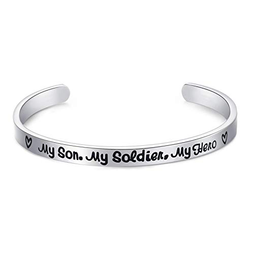 Deployment Gifts My Son My Soldier My Hero Bracelet Proud Army Mom Navy Mom Air Force Mom Military Jewelry (Cuff Bracelet)