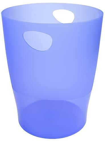 Exacompta 45310D ECOBIN Papierkorb 15 Liter mit Griffen. Eleganter und robuster Papierkorb und Mülleimer im modernen Design eisblau
