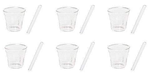 SELETTI Set. 6 Bicchierino da Caffe' in Vetro Ø Cm.5,8 H.5,2 + Palette