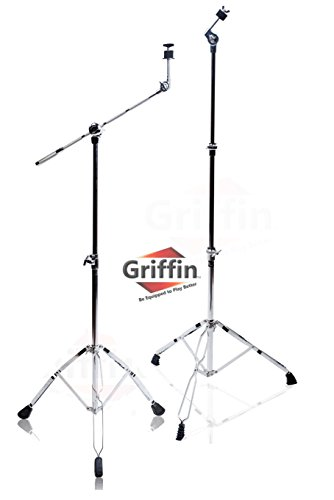 Cymbal Boom Stand & Straight Cymbal Stand Combo (Pack of 2) by Griffin|Percussion Drum Hardware Set for Mounting & Holding Crash, Ride, Splash Cymbals|Arm Counterweight Adapter Kit|Double Braced Legs