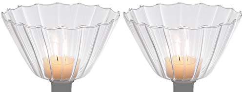 Novaliv 2X Teelichthalter für Kerzenständer I mit Optik I Glas I Klar I 13,5 Ø x 9 cm H I Kerzenhalter für Flaschen teelicht Glas kerzenhalter adventskranz
