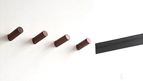 anaan One-Tenth Wandhaken Holz Garderobenhaken aus Massivholz Kleiderhaken Wanddeko Modern (Walnuss, 4er Set M Φ3*8cm)