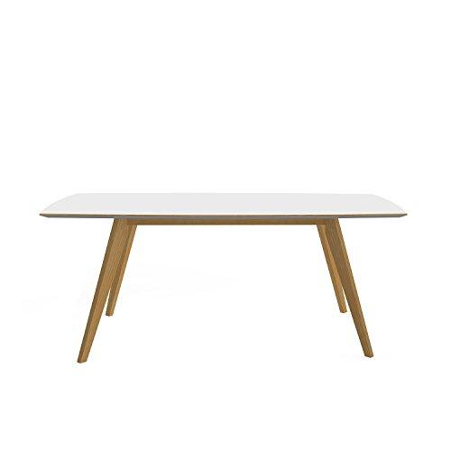 Tenzo BESS Table de salle à manger rectangulaire, Plateau en Panneaux MDF ép. 25 mm mélaminé Haute Pression, Chants Coloris Piètement : chêne Massif huilé, HPL Blanc, 75 x 185 x 95 cm (HxLxP)