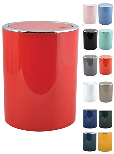 MSV Bad Serie Aspen Design Kosmetikeimer Bad Treteimer Schwingdeckeleimer Abfallbehälter mit Schwingdeckel 6 Liter (ØxH): ca. 18,5 x 26 cm rot