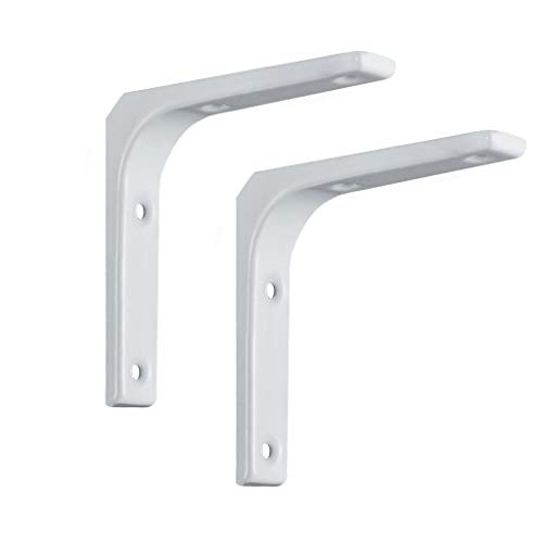 WSLOVE Heavy Duty Shelf Bracket,2pcs Metal Wall Mounted Shelve Brackets,L Shape Right Angle Bracket,Industrial Shelf,with Screws(White)