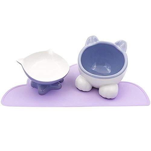 ZKBD-XTQ Anti-slip waterdichte klassieke huisdier voedsel huisdier benodigdheden, Keramische kat kom dubbele kom waterbak schuine mond anti-slip wastafel huisdier benodigdheden, Paars