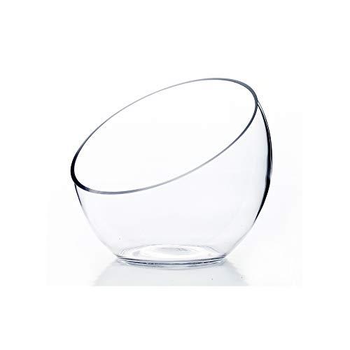 WGV Slant Cut Bowl Glass Vase, Width 7