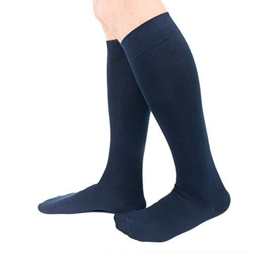 Ciocca Calze uomo lunghe, caldo cotone ritorto resistente - 6 Paia - Due taglie (43 46, Blu)