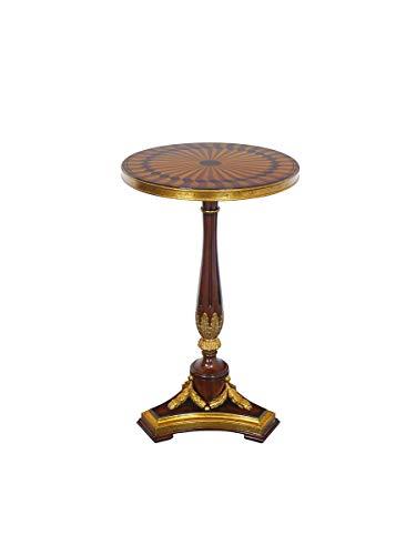 Antike Fundgrube Runder Beistelltisch Mahagoni mit feinsten Intarsien | Tisch Telefontisch | Goldakzente | D: 40 cm (9857)