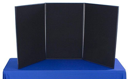 Tri Fold 3-Panel Display Board, 72 x 36, with Black Hook & Loop-Receptive Fabric and Write-on Whiteboard