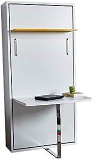 Zata Home Happy Table Lit d'appoint Vertical 90 x 190 cm Blanc/Jaune avec Bureau Lit de Placard Pliable Idéal comme lit d'appoint pour Chambre d'hôtes, Bureau, Salon, Chambre à Coucher