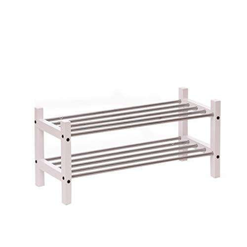 Mejor Assembly Shelf Simple Home Shoe Rack Dormitory Storage Rack Large Space Creative Multi-Functional Shelf Steel-Wood Combination Load-Bearing 150kg (Color : White, Size : Height 37cm) crítica 2020