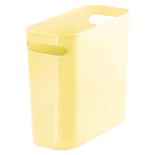 mDesign Mülleimer mit Griffen – moderner Abfalleimer mit 5,6 L Fassungsvermögen – Papierkorb aus Kunststoff für Küche, Bad und Büro – hellgelb