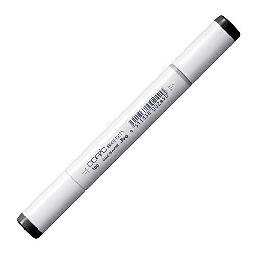 COPIC Sketch Marker Typ - 100, black, professioneller Pinselmarker, alkoholbasiert, mit einer Super-Brush-Spitze und einer Medium-Broad-Spitze
