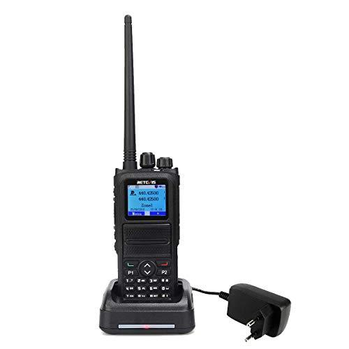 Retevis RT84 Walkie Talkie Digital, Banda Dual 3000 Canales, DMR Digital y Analógico, DTMF 1750, Compatible con Motorola Tier I&II, DMR Walkie Talkie para Al Aire Libre/Amateur (Negro)