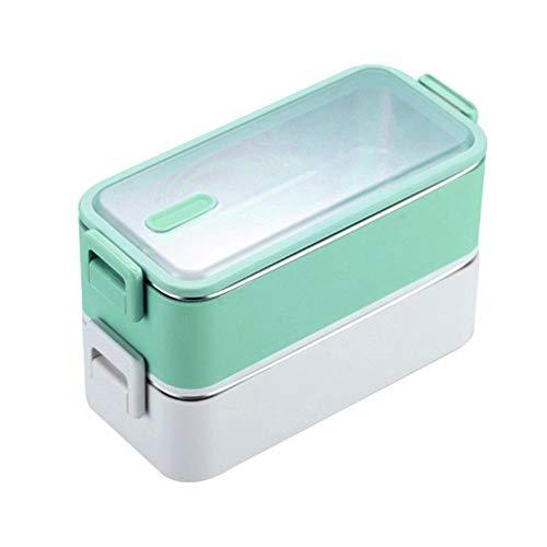 crazerop Tragbare Brotdose,Stapelbare Bento Box Doppellagige Isolierte Brotzeitbox 304 Edelstahl Lunchbox Große Brotbox Essen Behälter für Erwachsene Kinder Schüler Durable Everyone