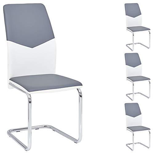 IDIMEX Schwingstuhl Leona Lederimitat in grau und weiß Esszimmerstuhl Freischwinger im 4er Set, verchromtes Metallgestell
