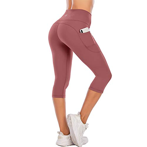 SteppeNaked Feeling High Waisted Yoga PantsWomen sWorkout Capris Leggings with PocketsTummyControlButtery SoftRunning Compression Capris for Athletic Gym Exercise Fitness Brick Red-L