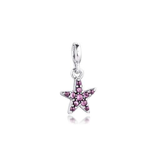 Se Ajustan A Las Pulseras Originales De Pandora, Cuentas De Plata De Ley 925 Fandola My Pink Starfish Dangle Me Tiny para Joyería