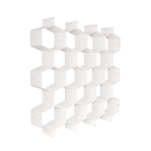 QUMENEY Schubladen-Organizer aus Kunststoff, Wabenstruktur, Trennwand mit 18 mehreren Fächern, Gürtelbindung, Socke, Unterwäsche, Trennwand (weiß, 1 Stück)